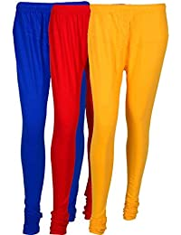 Cotton Leggings (Culture The Dignity Women's Cotton Leggings Combo Of 3_CTDCL_B1RY_BLUE-RED-YELLOW_FREESIZE)