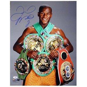 メイウェザージュニアを締結。写真 - 16x20の直筆サイン入りボクシングの写真。