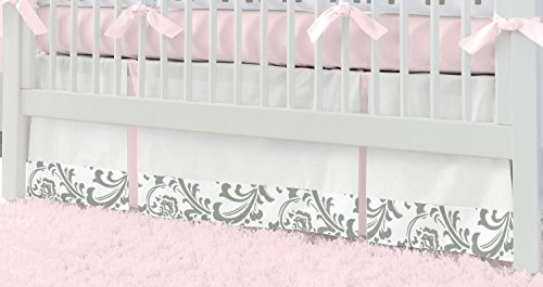 Carousel Designs Pink And Gray Elephants Crib Skirt front-344522