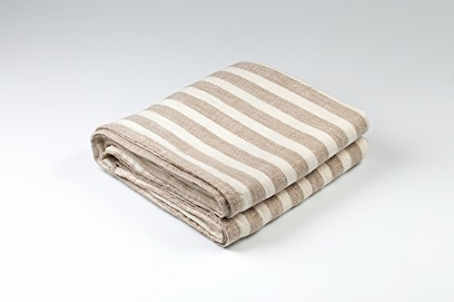 BLESS LINEN Striped Pure Linen Bath Towel, 30 x 58 Inches, Brown/White