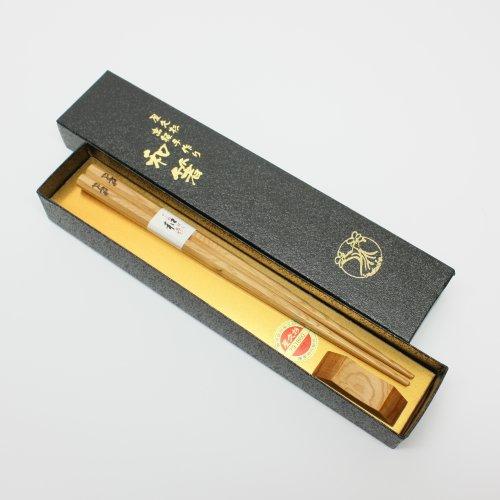 箸 屋久杉高級箸八角タイプ一本入り(箸置き付)23cm