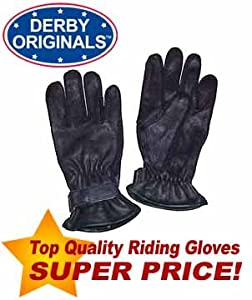 Derby Originals Leather Horse Riding Gloves Black Kids Large