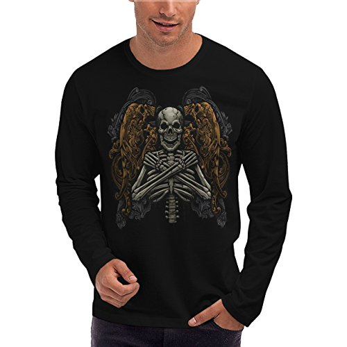 Wellcoda | Monster Skeleton Mens NEW Long Sleeve T-Shirt Black S-2XL