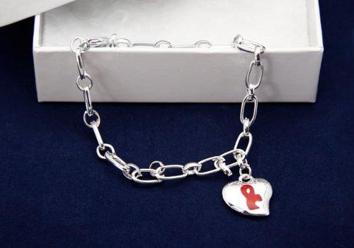 Red Ribbon Bracelet-Silver Linked w/ Puffed Heart Charm (18 Bracelets)