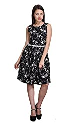 New Sierra women crepe floral printed split boat neck sleeveless black dress
