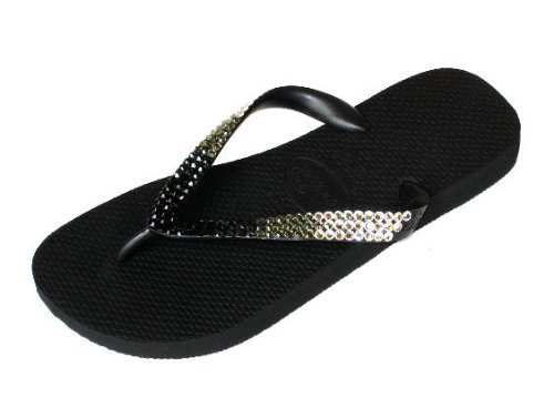 Image of PARTY BLACK Swarovski Crystal Havaianas Flip Flops Sandals Thongs sizes 5-11 (B002H0SA30)