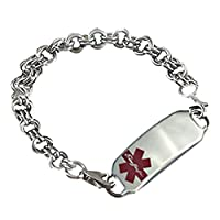 "Medical Alert Double Links Stainless Bracelet, FREE Engraving, Sizes available 6.5"" - 9.5"" by Creative Medical ID"