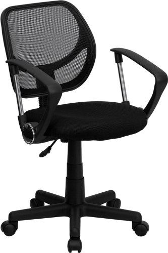 Flash Furniture WA-3074-BK-A-GG Mid-Back Black Mesh Task and Computer Chair with Arms