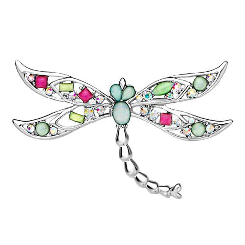 Pugster Dragonfly With Colorful Asscher Cut Czech