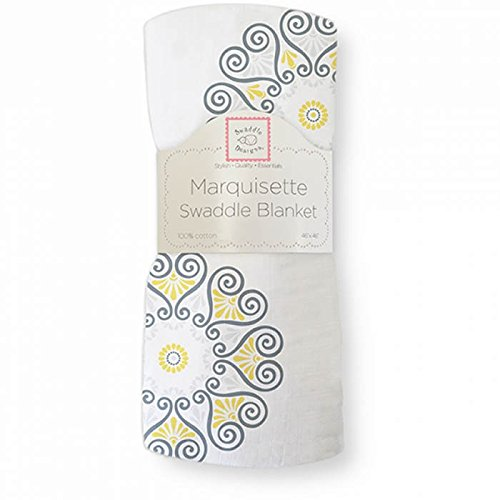 Yellow Grey Medallion Marquisette Baby Swaddle Blanket From Vipmo back-109324