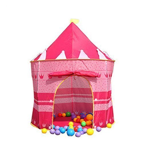 ZJKCR Girl Pink Princess Castle House Play 2 Kids Tent, 2.2lbs, 53.1'' x 41.3'' (H x D) , Fairy Tale Tent for Kids Play Outdoor Camping by ZJKC