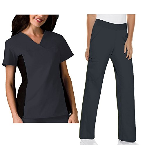 [Cherokee Flexibles Women's 2874 V-Neck Knit Panel Top & 2085 Pull-on Pant Medical Uniform Scrub Set + FREE GIFT (Pewter -] (Plus Size Nurse Outfit)