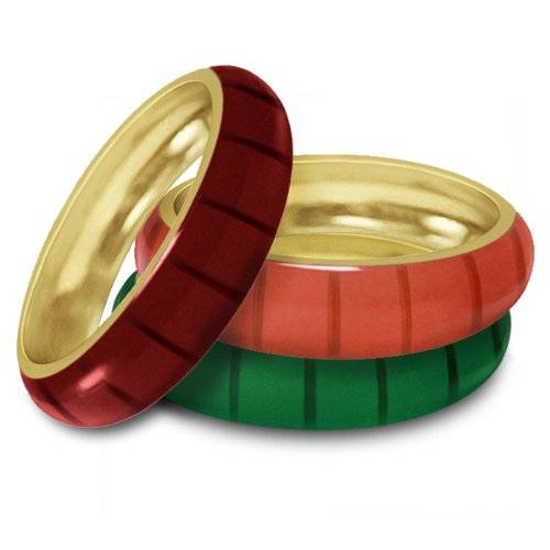 Women's Hidalgo Colored Enamel Designer Ring Jacket Insert in 18k Yellow Gold (Hidalgo Enamel Rings compare prices)