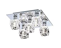 Modern 5 Light Ice Cube Flush Ceiling Light with Chrome Backplate and Halogen Lamps from Lights4Living