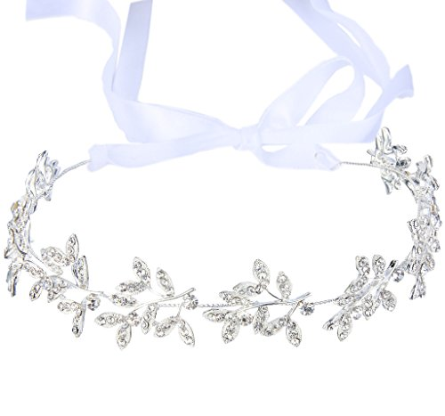 JoinMe Women's Crystal Olive Leaf Romantic Bendable Ribbon Tie Headband Hair Accessory Bling Clear