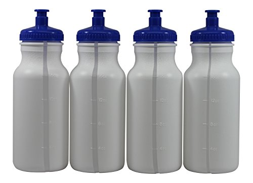 Sports Squeeze Plastic Water Bottles Push/Pull Cap 20 Ounce BPA-Free Set 4 (Sport Bottles Bulk compare prices)