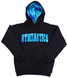 Lizatards Hawaiian Gymnastics Hoodie in Black/Blue - Little Girls X-Small (2-4)