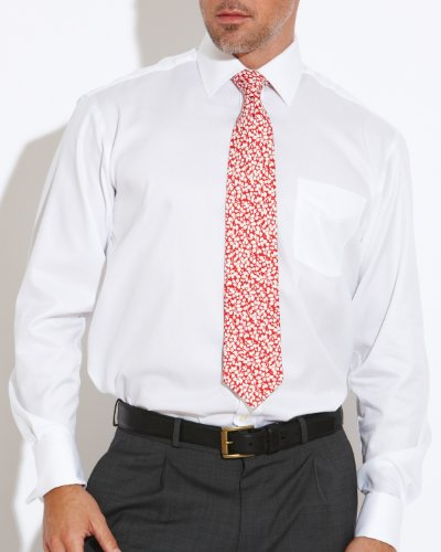 Savile Row Men's White Herringbone Windsor Collar Classic Fit Formal Shirt Neck Size 18