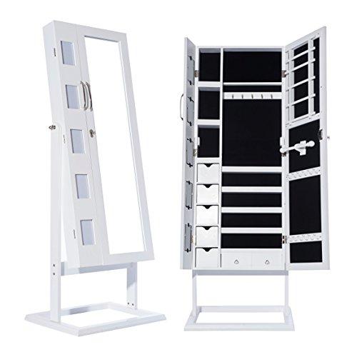 DXP-Schmuckschrank-Spiegelschrank-Standspiegel-Wei-150-x-56-x-44-cm-Schmuckkasten-mit-Spiegel-und-Fotorahmen-Doppeltr-Design-JCYJ09