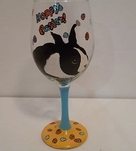 hoppy easter bunny rabbit wine glass hand painted by pet lovers boutique handmade. Black Bedroom Furniture Sets. Home Design Ideas