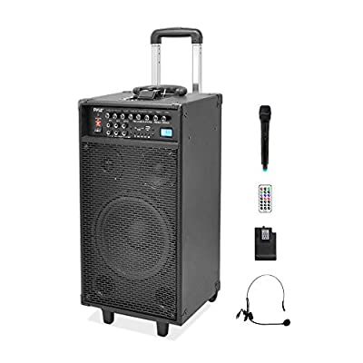Pyle PWMA1090UI Wireless and Portable PA Speaker Sound System, Rechargeable Battery, USB/SD Readers, Radio, 800 Watt, Includes Handheld & Lavalier Mics
