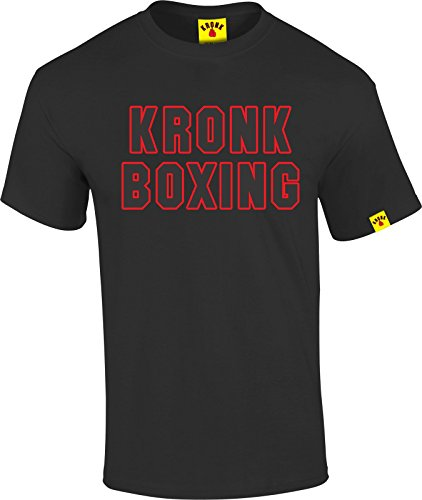 KRONK palestra KRONK da boxe da uomo, a maniche corte, taglio regolare, in cotone nero XX-Large