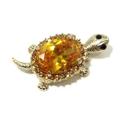 Yellow Swarovski Crystal Turtle Gold Plated Brooch Pin Pendant