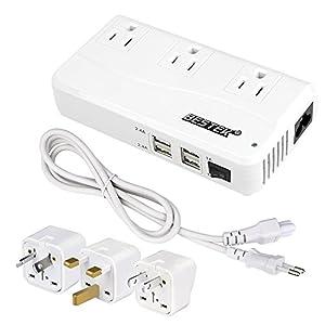 海外旅行用変圧器 変換プラグ付き 90V~240V to 100V 変換 ACコンセント 3口 USBポート 4口 旅行用充電器 「並行輸入品」