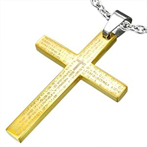 Mens Polished Stainless Steel The Lords Prayer Gold Cross Pendant Free Chain - Length 60cms by Jewellery4u