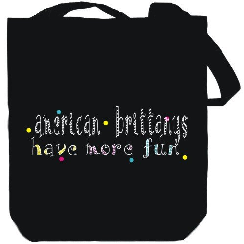 Canvas Tote Bag Black American Brittanys have more fun Dogs