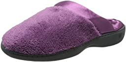 Isotoner Women\'s Microterry PillowStep Satin Cuff Clog Slippers, Ultraviolet,7.5/8