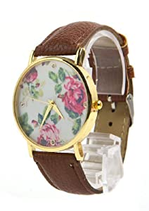 Jonsen Talk Geneva Leather Rose Flower Watch (Coffe)