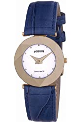 Jowissa Women's J5.268.M Facet Gold PVD Stainless Steel Blue Genuine Leather Watch