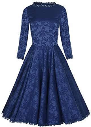 Lindy Bop 'Antoinette' Classy Vintage Long Sleeved Brocade Evening Dress (XS, Blue)