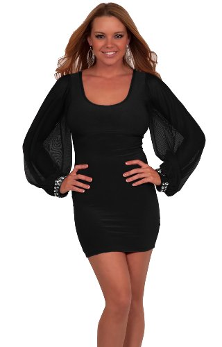 Sexy Long Sleeved Glittering Fitted Formal Cocktail Party Mini Skirt (Small, Black) Image