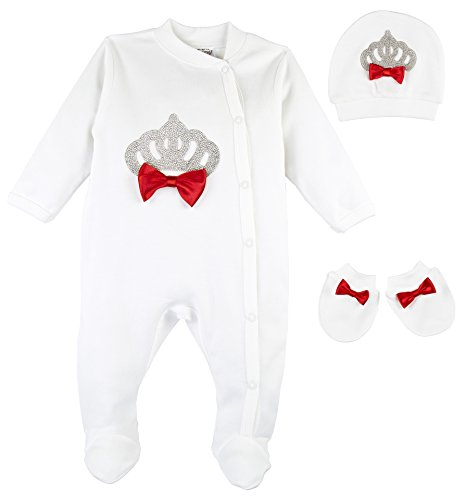 Eda Baby Girl Jeweled Crown Layette 3 Piece Gift Set 0-3M Red
