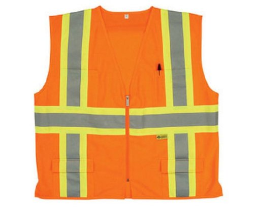 Safety Flag CM2ANSSV-5XL Class 2 Safety Vest, Orange, 5X-Large