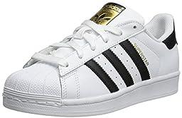 adidas Originals Superstar J Sneaker (Big Kid), White/Black/White, 7 M US Big Kid