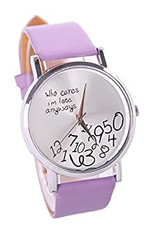 buy Cocotina Womens Mens Funny Comment Wrist Watches Who Cares Im Already Late(Purple)