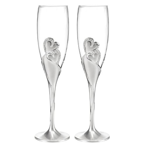 Hortense B. Hewitt Wedding Accessories Sparkling Love Champagne Flutes, Set of 2