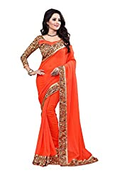 Fashion205 Women Faux Georgette Saree (OCO-AR8-1061_Orange_Orange_Free Size)