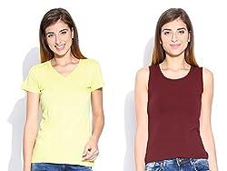 Happy Hippie Women's Combo T-shirt Yellow-Maroon