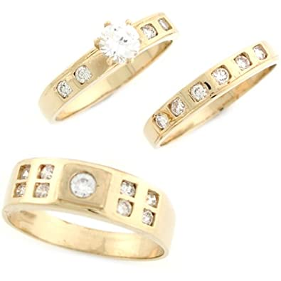 14ct Yellow Gold White CZ Modern Square Trio Wedding Engagement Rings
