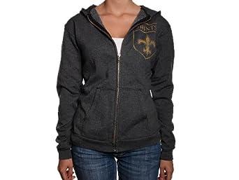 NFL Women's New Orleans Saints Vintage Hooded Sweatshirt (Charcoal , Small )