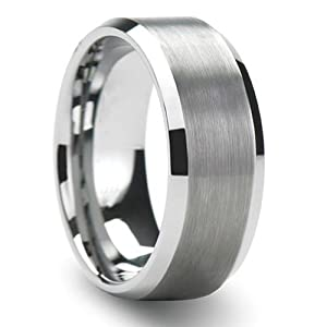 5//16in Two-Tone Flat Wedding Band Ring MTERO Tungsten Carbide 8mm