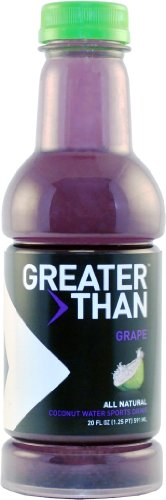 Greater Than Coconut Water Sports Drink, Grape Flavor, 20 Ounce Bottles (Pack of 12)
