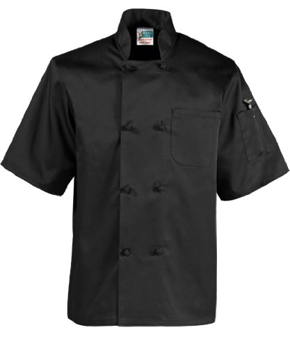 1/2 Sleeve French Knot Chef Coat, Black, Large
