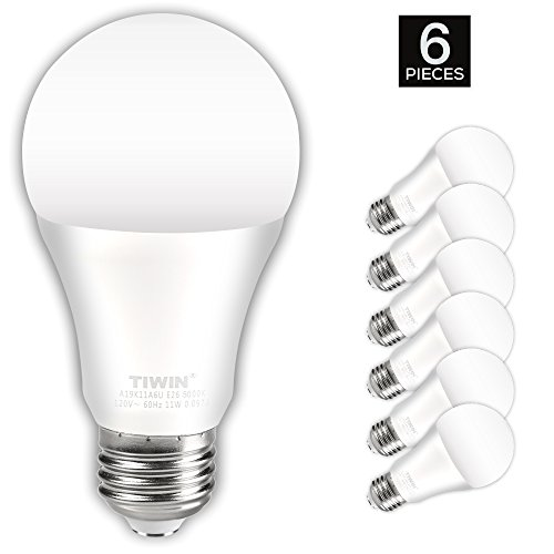 TIWIN A19 E26 LED Light Bulbs 100 watt equivalent (11W), Daylight (5000K),1100lm, CRI80+, General Purpose Light Bulbs, UL Listed, Pack of 6 (Color Led Light Blubs compare prices)
