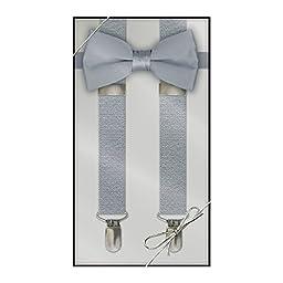 Suspender & Bow Tie Set (Kids, Silver)