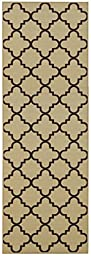 Custom Size Runner Beige Moroccan Trellis Non-Slip (Non-Skid) Rubber Back Stair Hallway Rug by Feet 22 Inch Wide Select Your Length 22in X 9ft